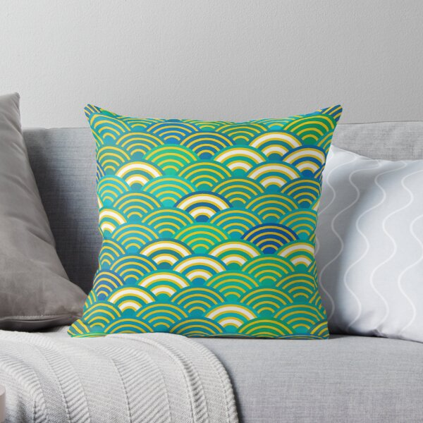Seigaiha or seigainami abstract scales simple Spring Nature background with japanese circle Throw Pillow