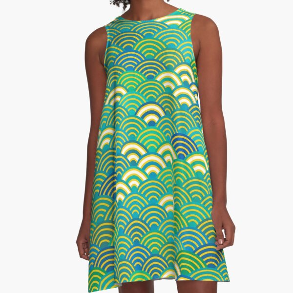 Seigaiha or seigainami abstract scales simple Spring Nature background with japanese circle A-Line Dress