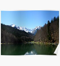 Lake Riessersee. Mountain Zugspitze. Poster