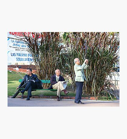 Three Men and a Seat Photographic Print