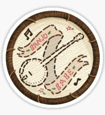 Banjo Babe Folk Music Embroidery Style Patch Sticker