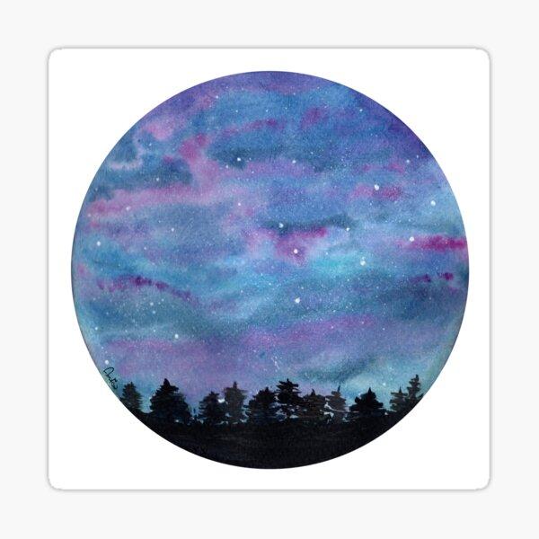 Aurora blue and Violet watercolor  Sticker