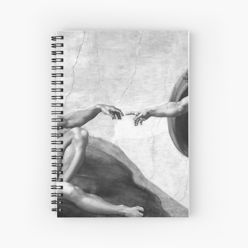 Black and White Creation of Adam Painting by Michelangelo Sistine Chapel Spiral Notebook