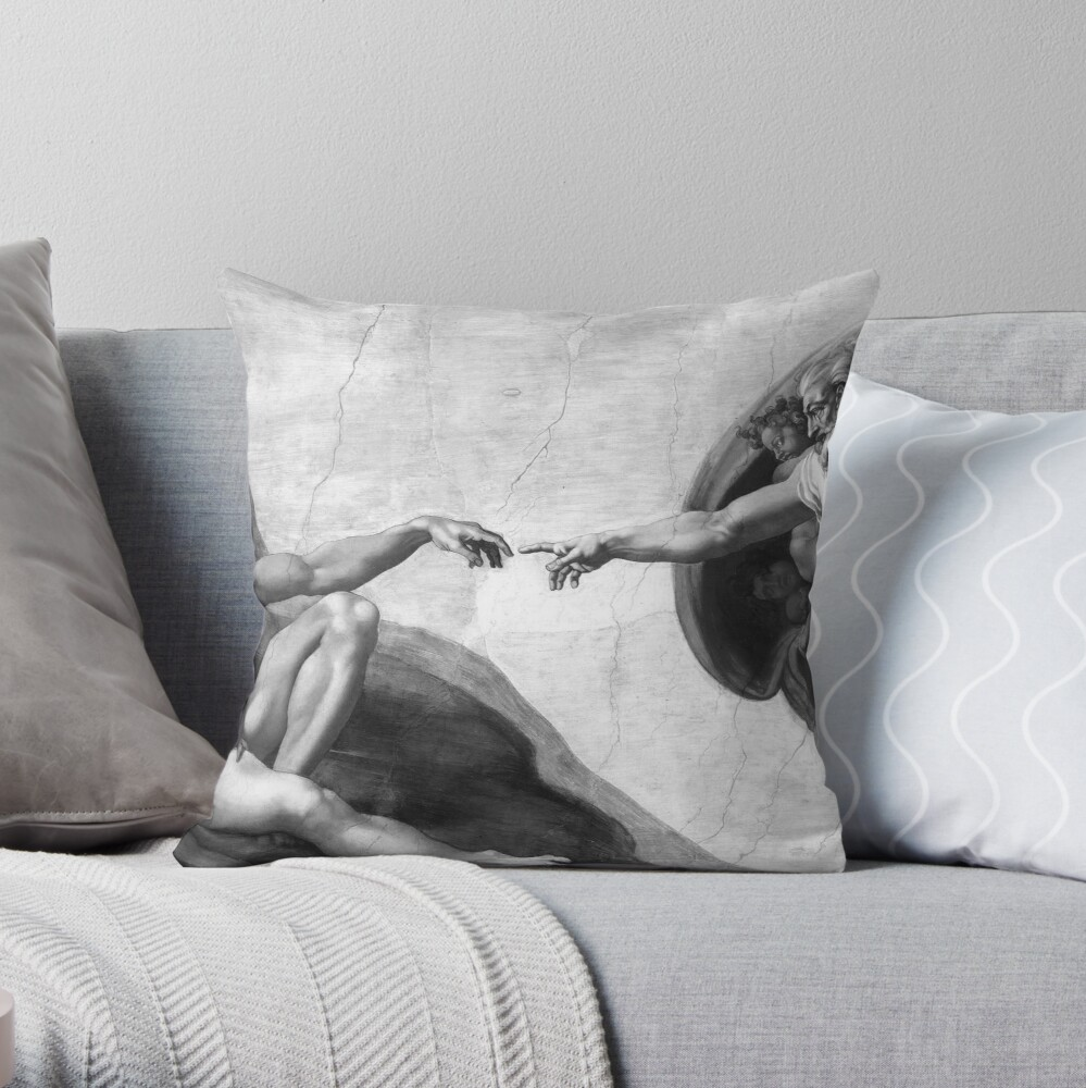 Black and White Creation of Adam Painting by Michelangelo Sistine Chapel Throw Pillow