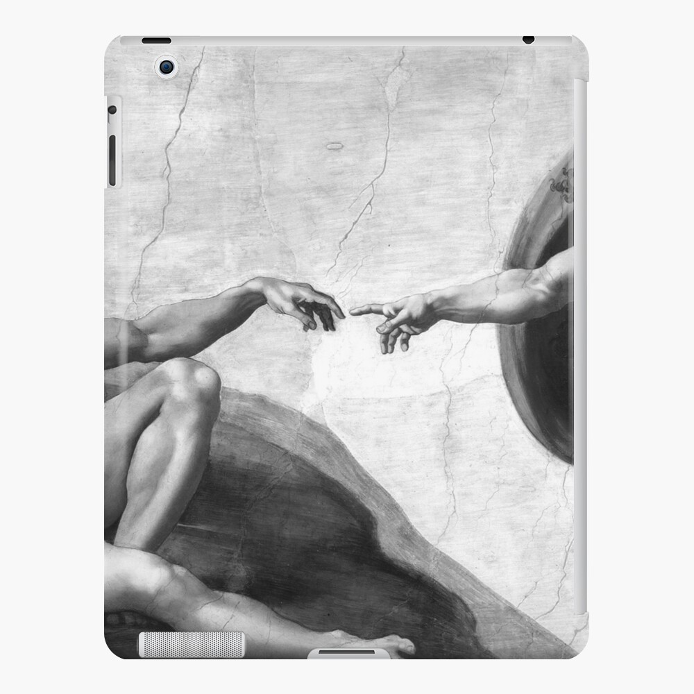 Black and White Creation of Adam Painting by Michelangelo Sistine Chapel iPad Case & Skin