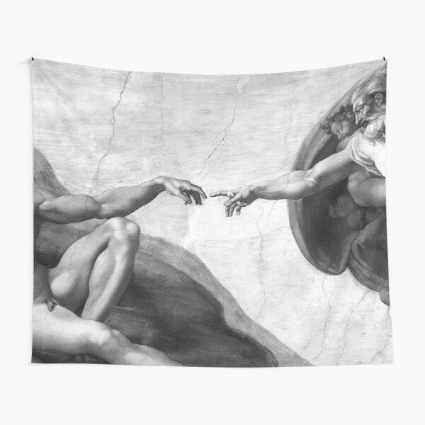 Black and White Creation of Adam Painting by Michelangelo Sistine Chapel Tapestry