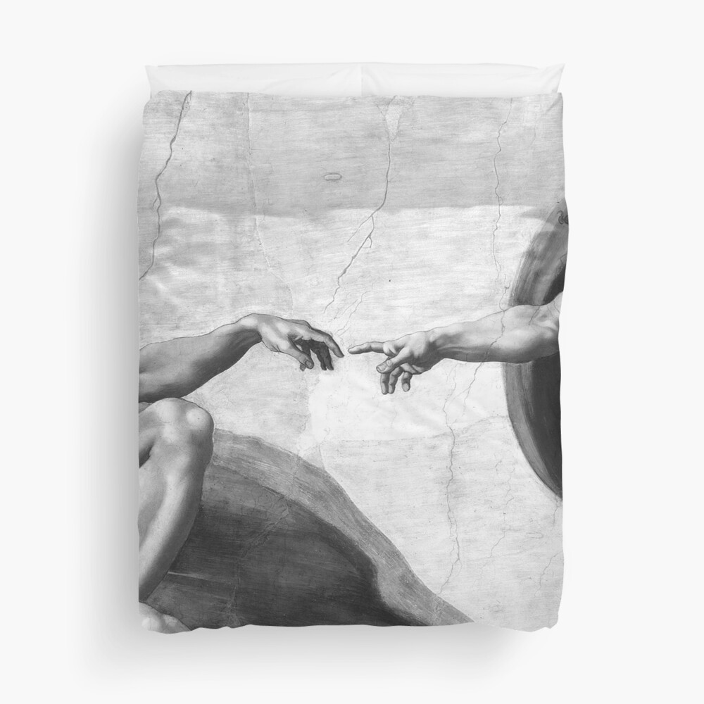 Black and White Creation of Adam Painting by Michelangelo Sistine Chapel Duvet Cover