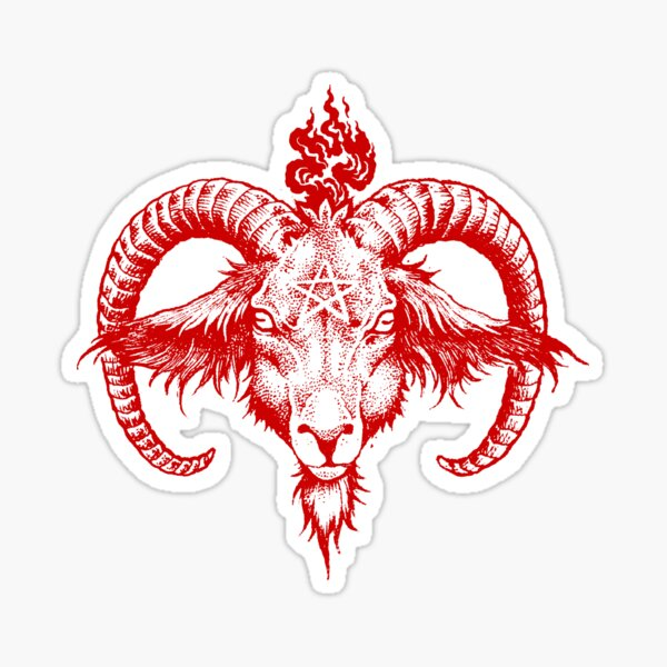 Baphomet Kopf - rot Sticker