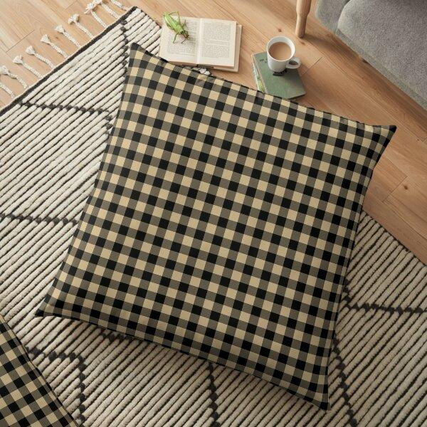 Christmas Gold and Black Buffalo Check Plaid Floor Pillow
