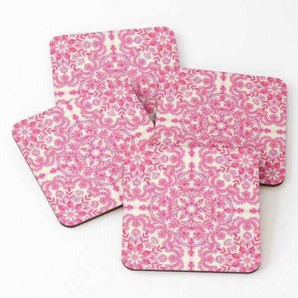 Hot Pink & Soft Cream Folk Art Pattern Coasters (Set of 4)
