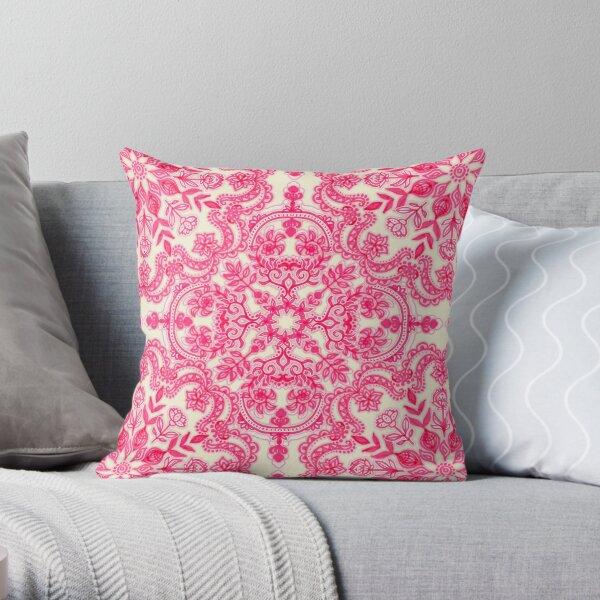 Hot Pink & Soft Cream Folk Art Pattern Throw Pillow