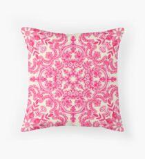 Pink & Soft Creme Volkskunst Muster Dekokissen