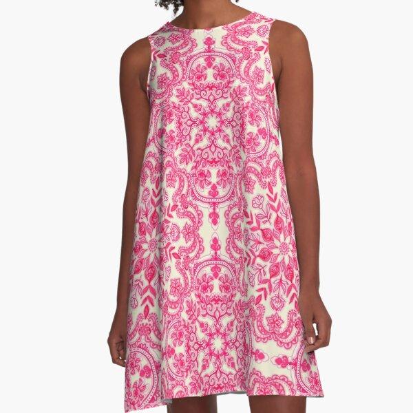 Hot Pink & Soft Cream Folk Art Pattern A-Line Dress