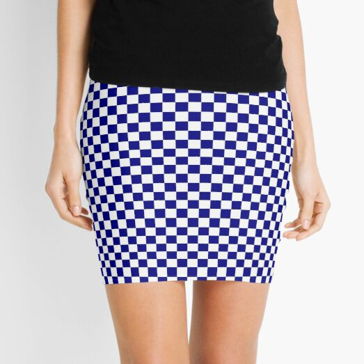 Navy Blue and White Checkerboard  Mini Skirt