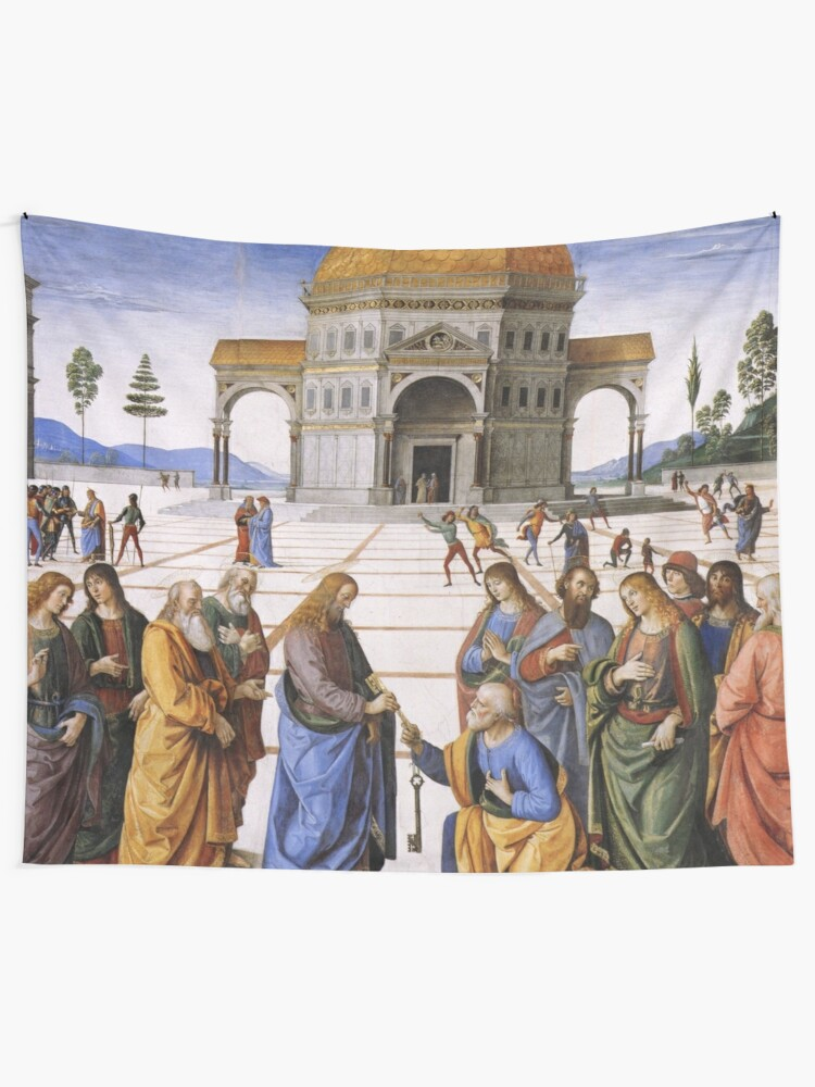 Alternate view of The Delivery of the Keys Painting by Perugino Sistine Chapel Tapestry