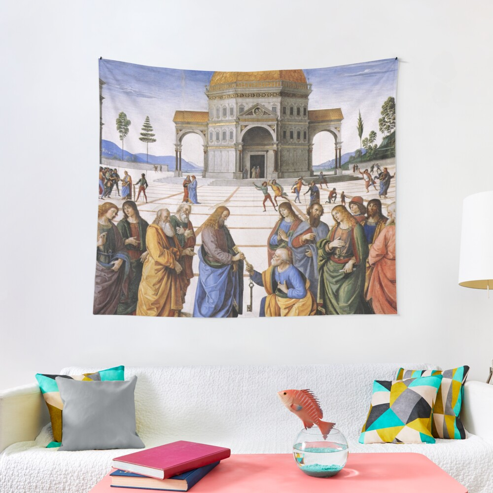 The Delivery of the Keys Painting by Perugino Sistine Chapel Tapestry