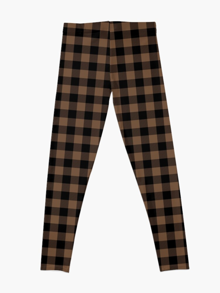 Alternate view of Classic Brown Coffee Country Cottage Summer Buffalo Plaid Leggings