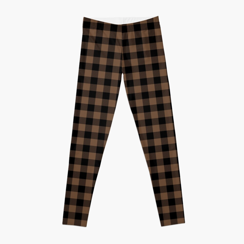 Classic Brown Coffee Country Cottage Summer Buffalo Plaid Leggings