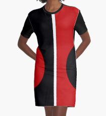60s Mod | Red & Black Circle Mondrian  Graphic T-Shirt Dress