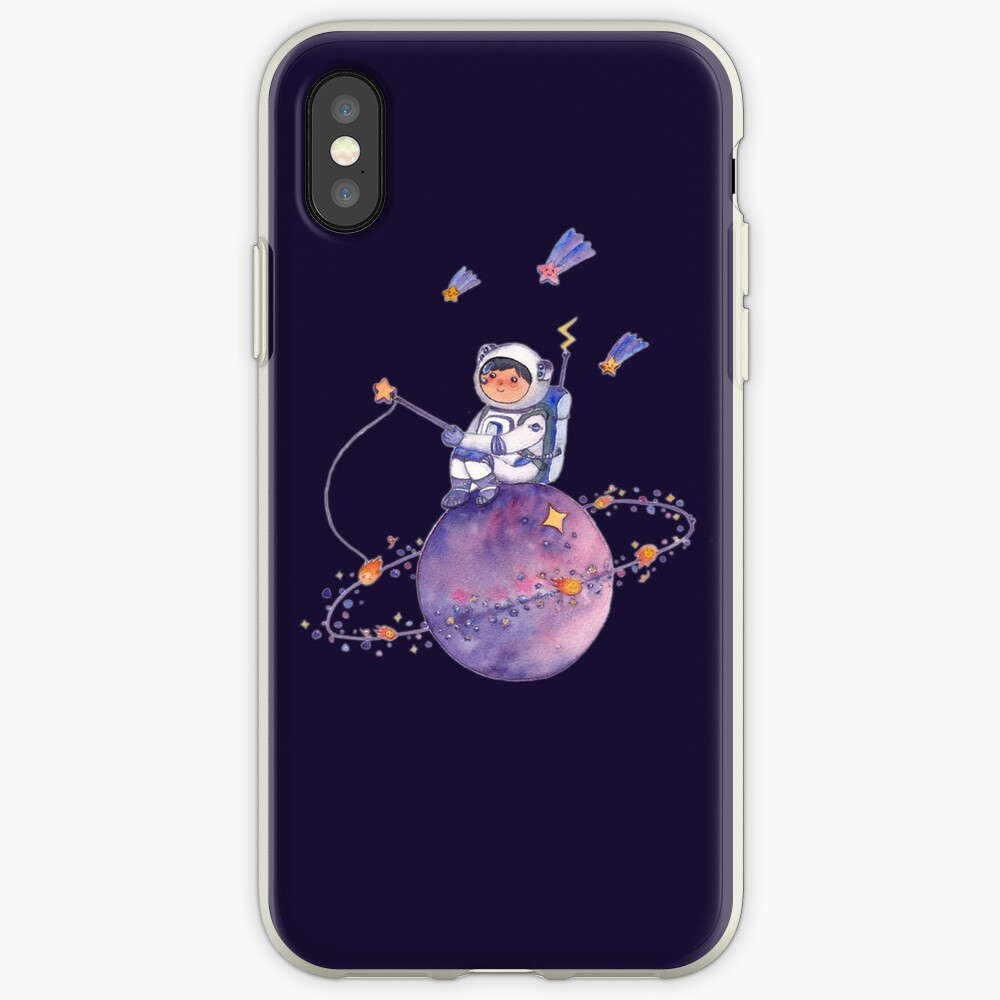 Astronaut catching Asteroids on a Star iPhone Case & Cover