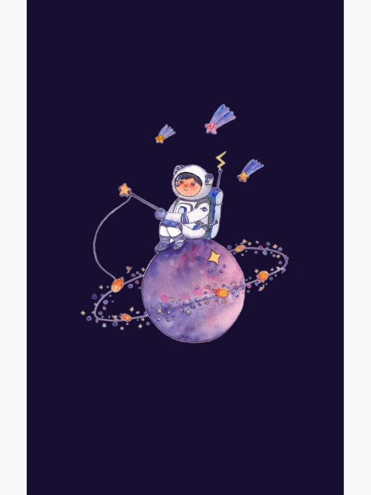 Astronaut catching Asteroids on a Star by whya