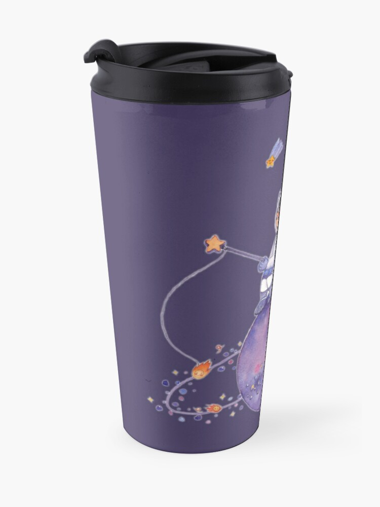 Alternate view of Astronaut catching Asteroids on a Star Travel Mug