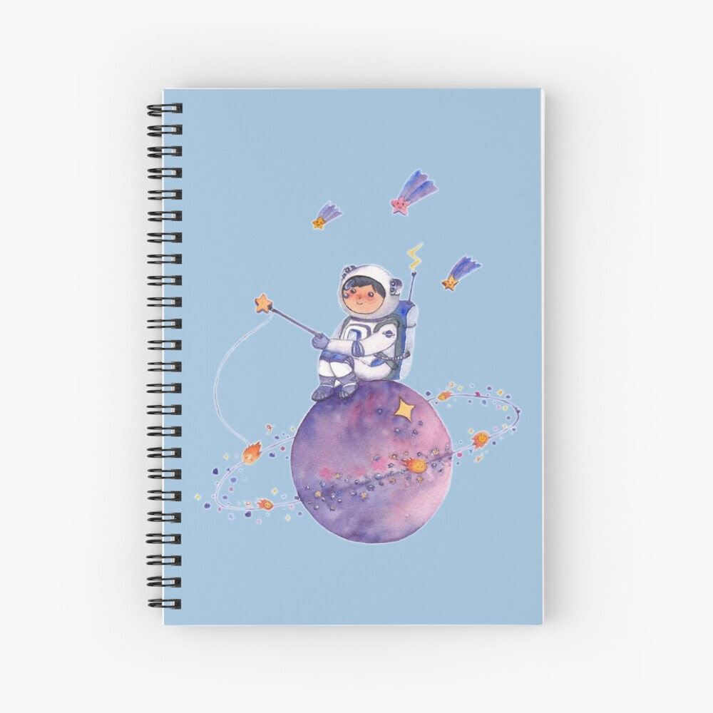 Astronaut catching Asteroids on a Star Spiral Notebook