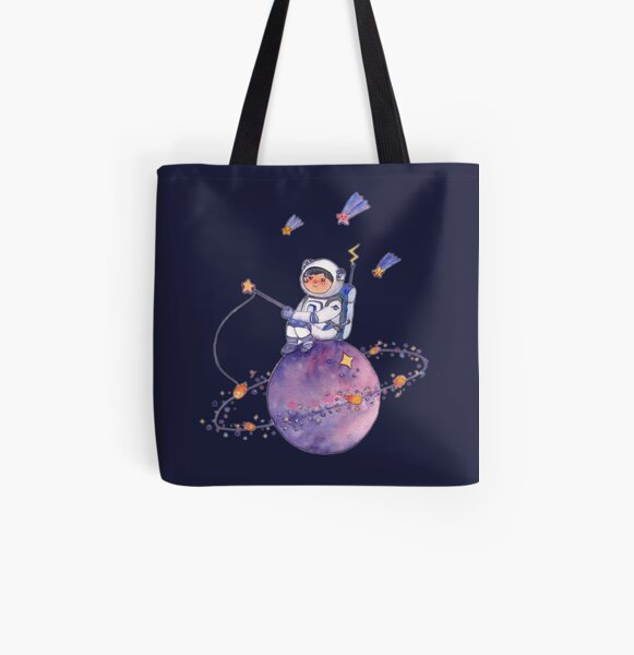 Astronaut catching Asteroids on a Star All Over Print Tote Bag