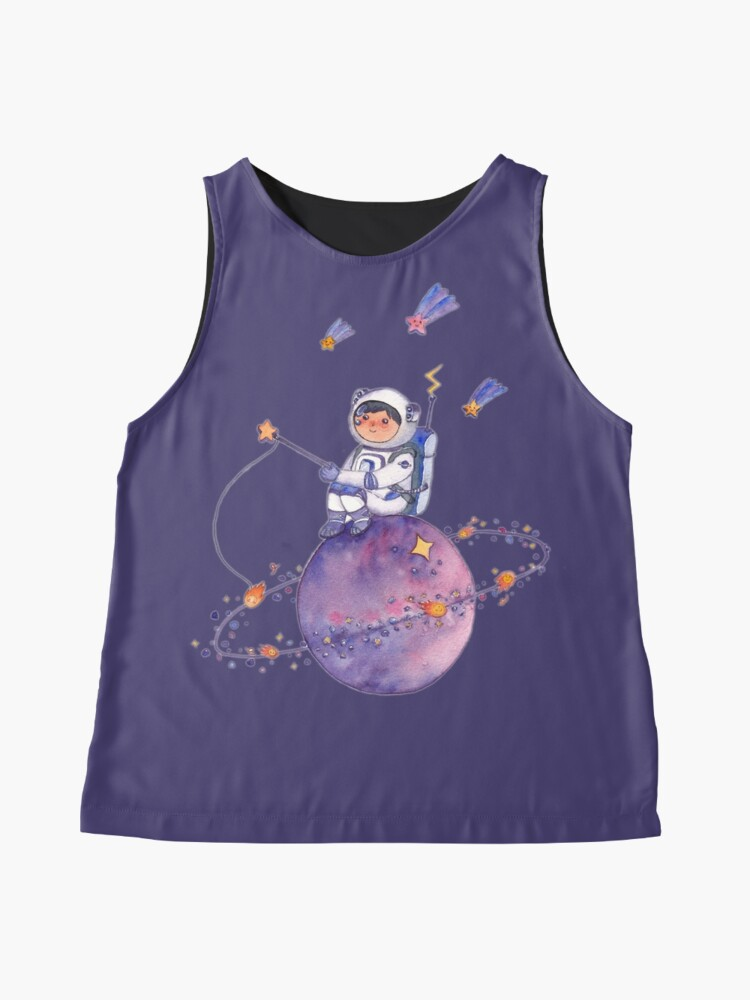 Alternate view of Astronaut catching Asteroids on a Star Sleeveless Top