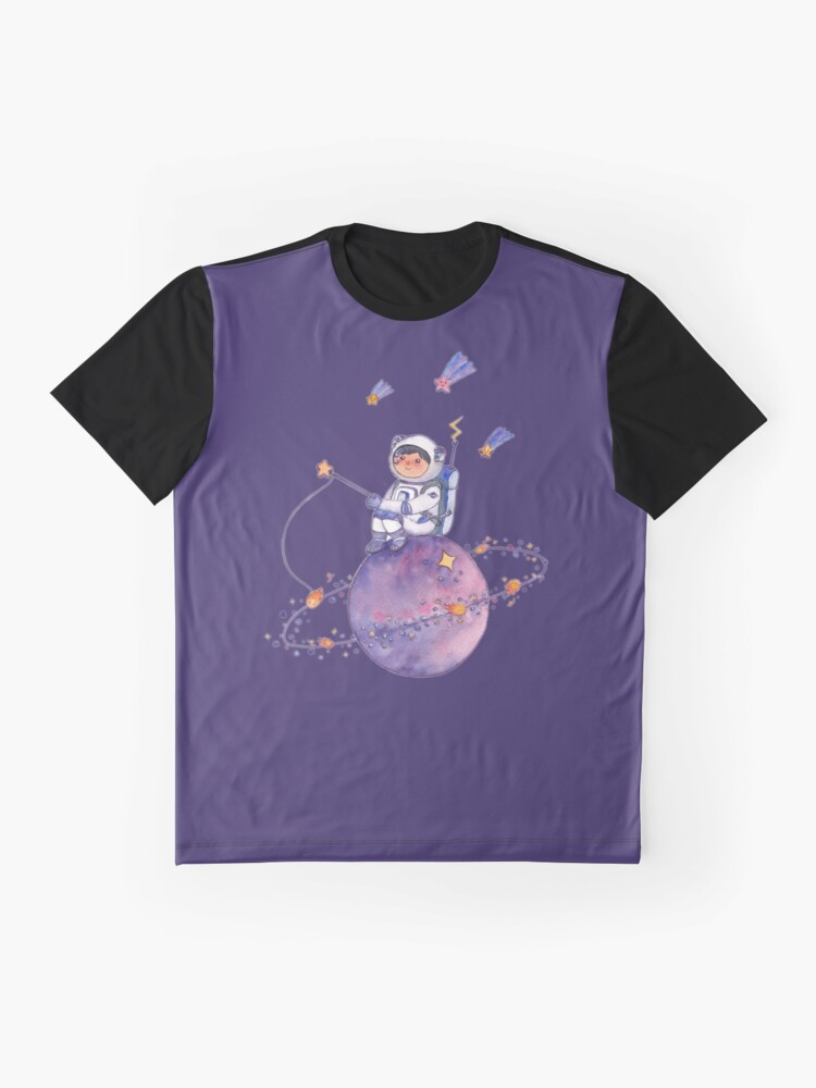 Alternate view of Astronaut catching Asteroids on a Star Graphic T-Shirt
