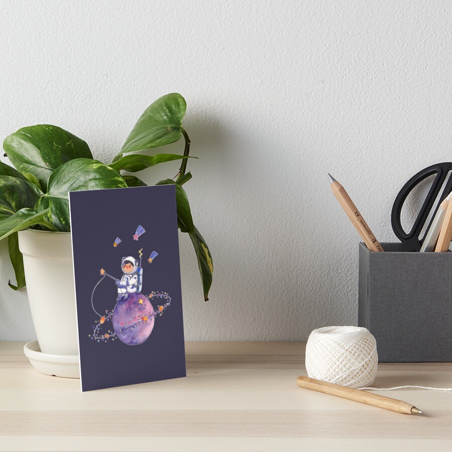 Astronaut catching Asteroids on a Star Art Board Print