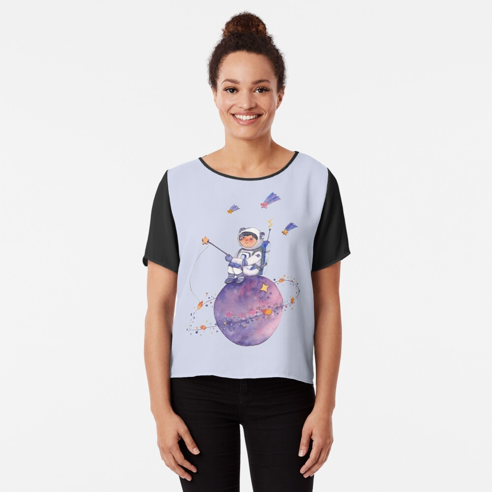 Astronaut catching Asteroids on a Star Chiffon Top