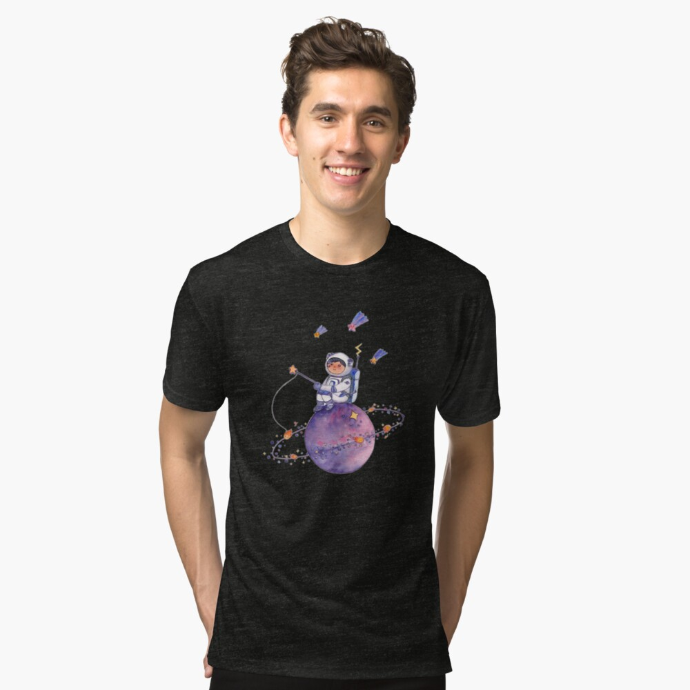 Astronaut catching Asteroids on a Star Tri-blend T-Shirt