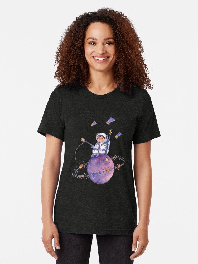 Alternate view of Astronaut catching Asteroids on a Star Tri-blend T-Shirt