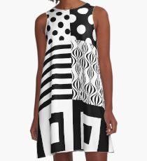 60s Mod Patterns | Black & White Blocks  A-Line Dress