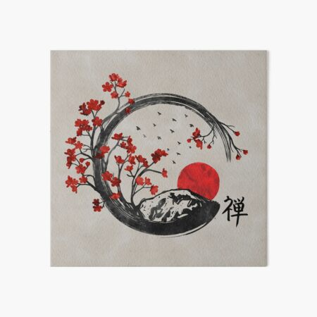 Zen Enso Circle and Sakura Branches  Art Board Print