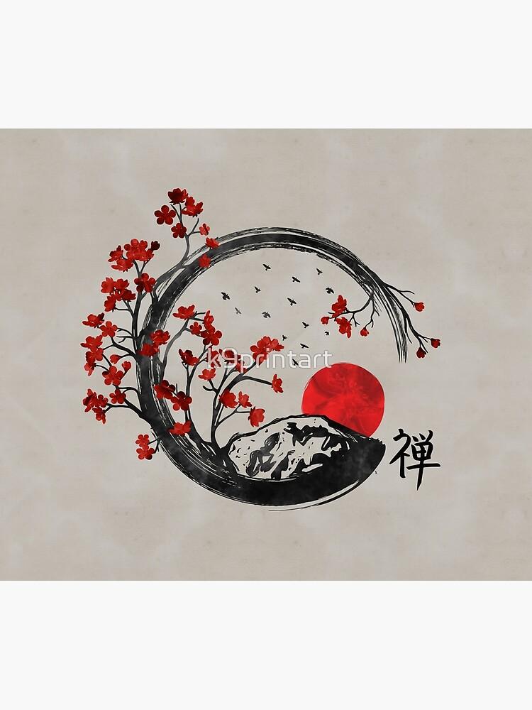 Zen Enso Circle y Sakura Branches de k9printart