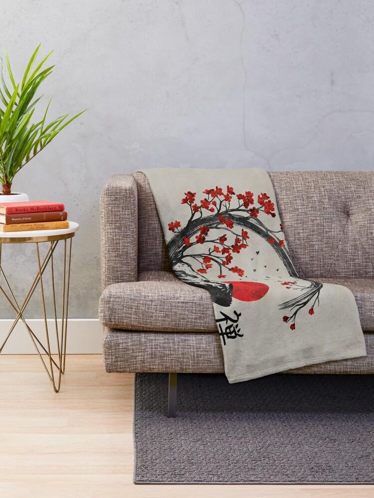 Vista alternativa de Manta Zen Enso Circle y Sakura Branches