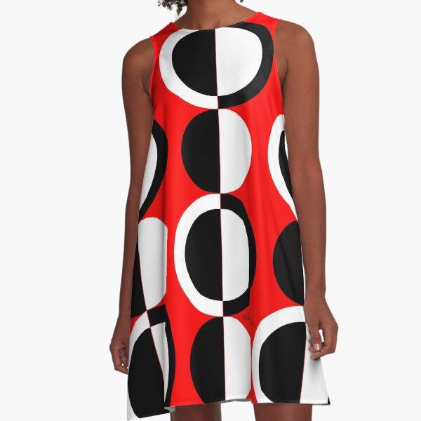 Red Black White Mod Circles A-Line Dress