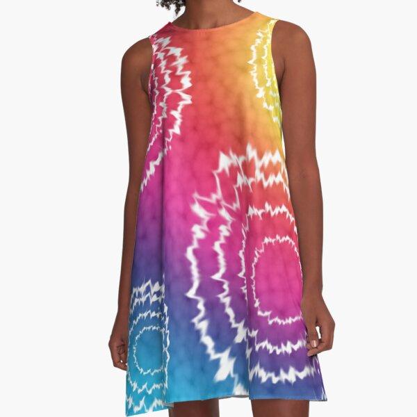 Rainbow TieDye A-Line Dress