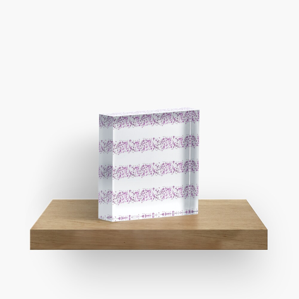 Modern abstract violet purple watercolor geometrical stripes Acrylic Block