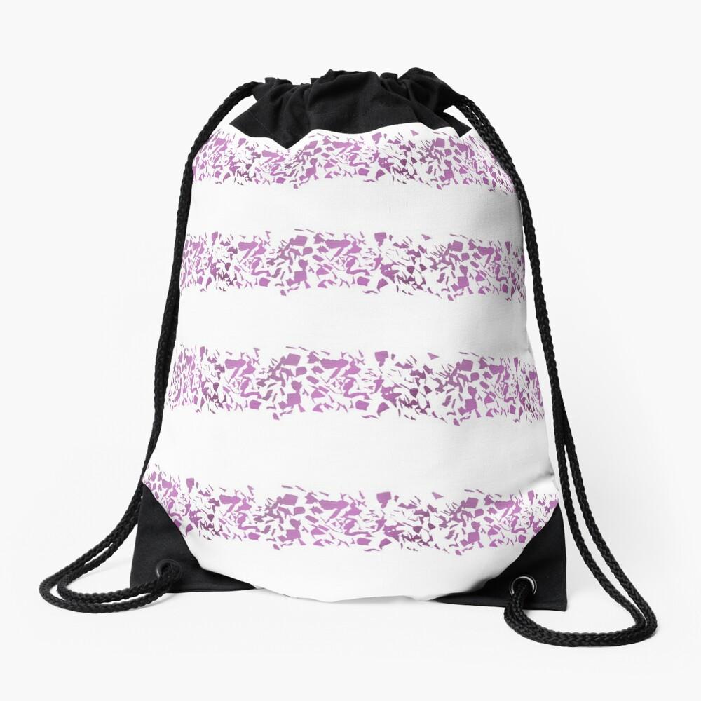 Modern abstract violet purple watercolor geometrical stripes Drawstring Bag