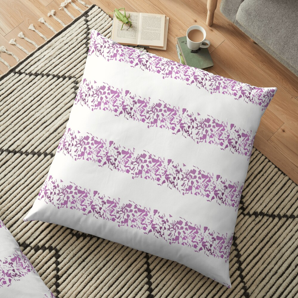 Modern abstract violet purple watercolor geometrical stripes Floor Pillow