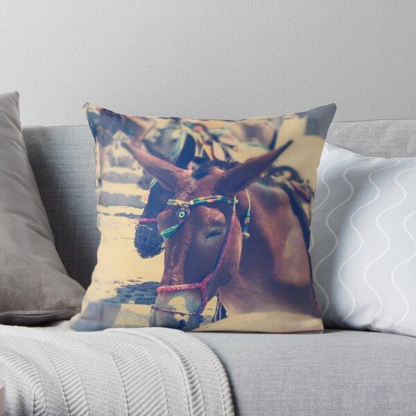 Santorini Donkey Throw Pillow