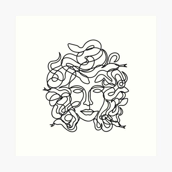 Medusa Face in single line style Art Print