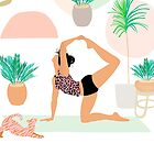 Mid Modern Yoga Girl Power with Plants by Dominiquevari