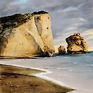 Pedra tou Romiou - colour drawing by talesofcyprus