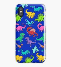 Dinosaurs rainbow pattern blue background iPhone Case/Skin