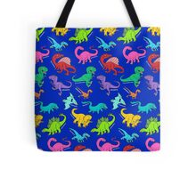 Dinosaurs rainbow pattern blue background Tote Bag