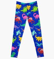 Blauer Hintergrund des Dinosaurierregenbogen-Musters Leggings